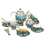XCTLZG Porzellan-Teesets Keramik-Kaffeetassen mit Zuckerdose, Milchglas und Löffeln Vintage-Blumen und Vogelhochzeits-Teeservice für Erw