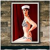 KUANGWENC Zooey Deschanel Hot Retro Badeanzug Poster Druck Wandkunst Bilddrucke Leinwand Home Decor Artwork Geschenk -50X70Cm No F