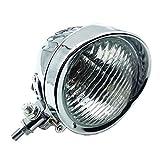 Retro Metall 60 Watt / 55 Watt Motorrad Kugelkopf Licht Lampe Scheinwerfer für Cruiser Chopper Cafe Racer Bobber (Chrom / klar)