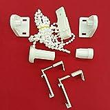 Easy-Shadow - 1 Set / Hochwertiges Zubehör-Set für Klemmfix-Rollos / Duo-Rollos / Rollo / Verdunkelungsrollo / Easyfix - Klemmhalter / Kettenzug / Halterung für Fensterrahmen Rahmenstärke 15 mm - 22 mm Montage ohne Bohren oder Kleben - weiß