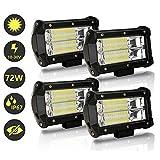 Hengda LED Arbeitsscheinwerfer, 4x 72W Zusatzscheinwerfer 12V 24V 18400LM LED Scheinwerfer für Traktor, Offroad, SUV, ATV, Auto Rückfahrscheinwerfer IP67, 6500