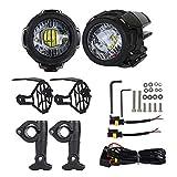 Motorrad Zusatzscheinwerfer, Motorrad-Nebelscheinwerfer LED Zusatzscheinwerfer Set für Bmw R1200gs F800gs, Motorrad-Spot-Driving-Nebelscheinwerfer-Signalleuchten-Set mit Rahmen + S