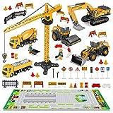 FUNTOK Baufahrzeuge Spielzeug,35 Stück Kinder Baufahrzeuge Set mit Spielmatte Kran Spielzeug Bagger Dampfwalze Planierraupe Lastwagen Betonmischer Gabelstapler Baustellenfahrzeuge Geschenk W
