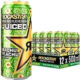 Rockstar Baja Juiced Energy Drink Machu Peachu – Exotisches, koffeinhaltiges Erfrischungsgetränk mit Pfirsich Geschmack für den Energie Kick, EINWEG (12x 500ml)