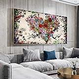 Moderne Leinwand Liebe Malerei Zusammenfassung Bunte Herzblumen Poster Drucke Wandkunst Bild für Wohnzimmer Home 30 * 60